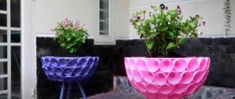 na prevyu 1 – Оригинальный цветочный горшок из пластиковых бутылок